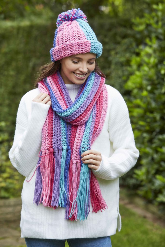 berry ribbed hat and scarf