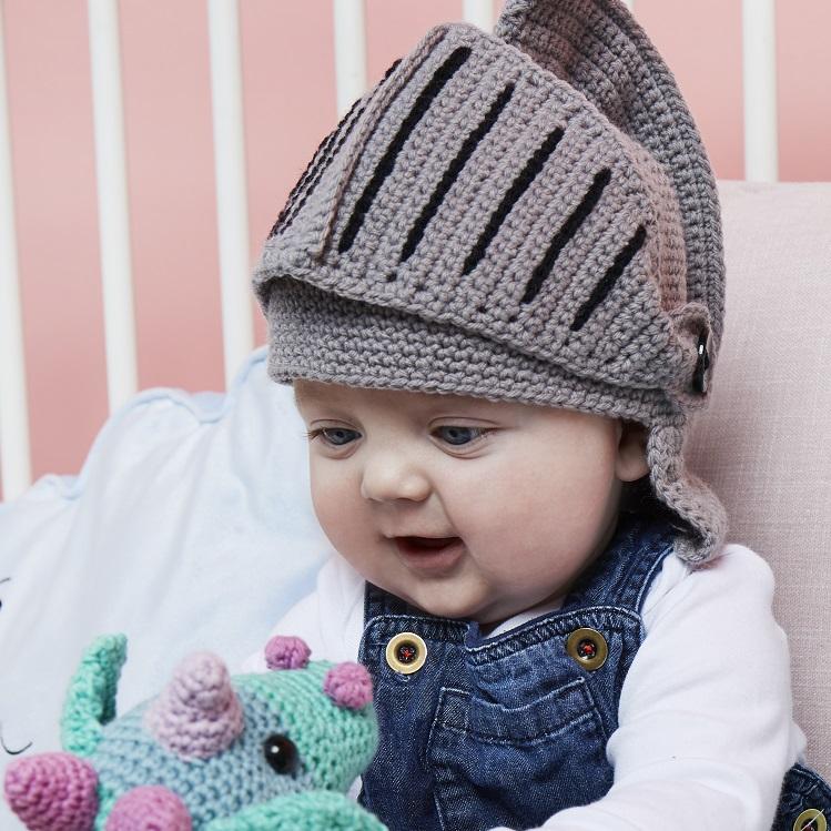 baby crochet hat knights helmet design