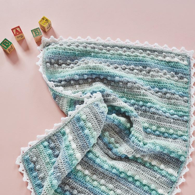 crochet baby blanket bobble stitch square